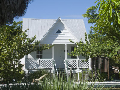 Old Houses in Historic Village Museum, Sanibel Island, Gulf Coast, Florida Stretched Canvas Print