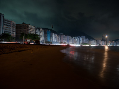 Copacabana Beach is Seen During a Blackout in Rio De Janeiro Stretched Canvas Print