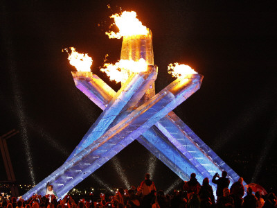 Canadian Ice Hockey Legend Wayne Gretzky as He Lights the Olympic Flame at the 2010 Winter Games Stretched Canvas Print