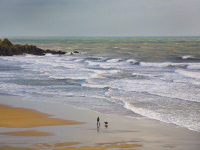 Bunmahon Strand, the Copper Coast, County Waterford, Ireland Stretched Canvas Print