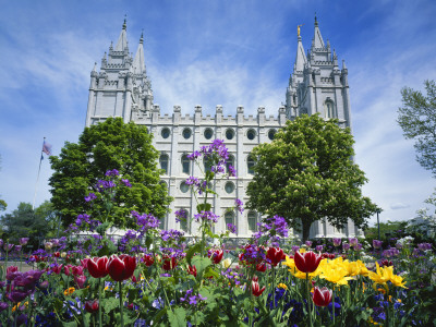 View of Lds Temple with Flowers in Foreground, Salt Lake City, Utah, USA Stretched Canvas Print