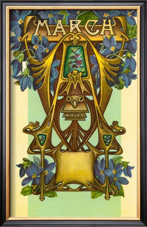 Art Nouveau March, Aries Pre-made Frame at Art.