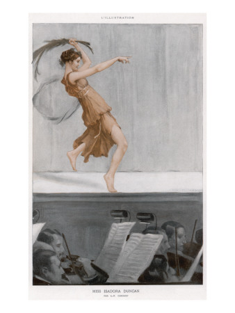 Isadora Duncan American Dancer, Barefoot on Stage Giclee Print at Art.