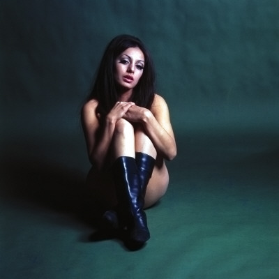Retro Female Model in Black Boots, Beauty, Skin, Exposed Flesh , Semi Nude