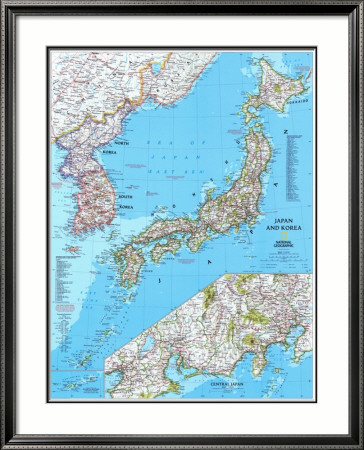 maps of japan and korea. Map of Japan And Korea Framed