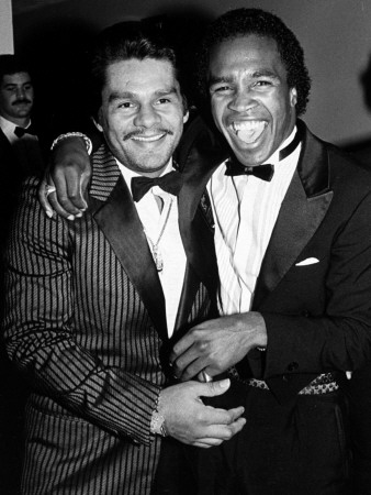 Boxing Greats Roberto Duran and Sugar Ray Leonard at 20th Anniversary of World Boxing Council Stretched Canvas Print