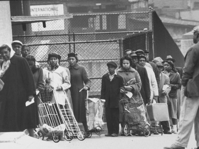 Group of African-Americans Waiting on Line, Many with Small Handcarts, from Story on Unemployment Stretched Canvas Print