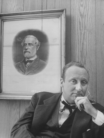 Mayor Charles P. Farnsley Sitting in His Office in Front of a Portrait of General Robert E. Lee Stretched Canvas Print