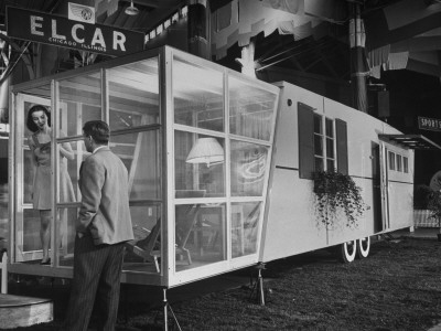 Collapsible Sun Porch on Trailer Featured in Trailer Exhibit Stretched Canvas Print