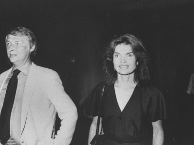 Socialite/Editor Jacqueline Kennedy Onassis with Director Mike Nichols Stretched Canvas Print