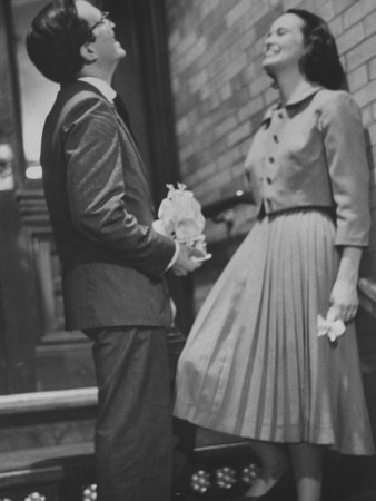Heiress, Poet, Actress Gloria Vanderbilt Laughing with Her Third Husband Stretched Canvas Print