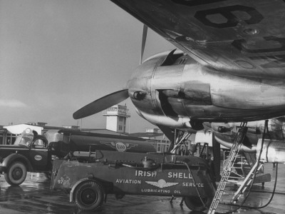 Irish Plane at Airport Being Refuelled Stretched Canvas Print