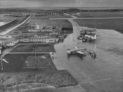 Aerial View of Airport with Irish Planes on Runway Stretched Canvas Print
