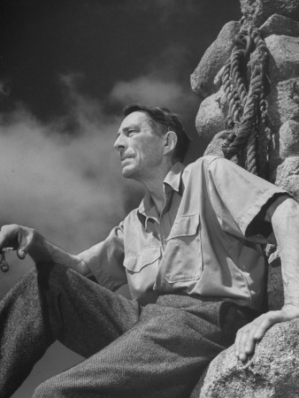 Picture of Poet Robinson Jeffers Sitting on Rocks Stretched Canvas Print