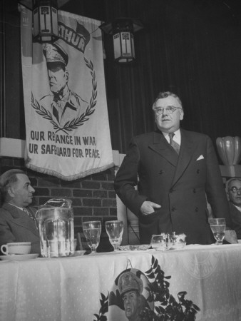 Man Making a Speech at a Macarthur Club Meeting Stretched Canvas Print