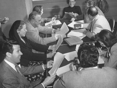 Jack Benny and Writers Working on His Radio Show Stretched Canvas Print