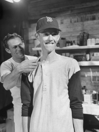 Red Sox Morris McDermott Being Fitted for a Uniform Stretched Canvas Print