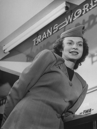 Twa Stewardess Jean Herman at Shannon Airport Stretched Canvas Print