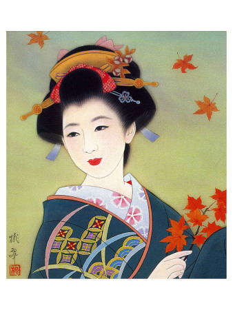 japanese art geisha. Japanese Geisha in Fall Leaves