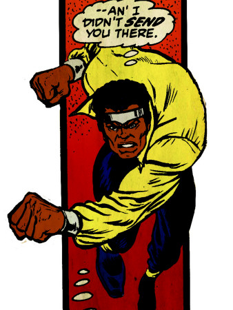 Marvel Comics Retro: Luke Cage, Hero for Hire Comic Panel, Charging (aged) Stretched Canvas Print