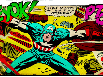 Marvel Comics Retro: Captain America Comic Panel, Fighting, Phase 1, So Far So Good! (aged) Stretched Canvas Print