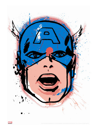 Marvel Comics Retro: Captain America Stretched Canvas Print