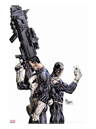 Punisher Vs. Bullseye No.1 Cover: Punisher and Bullseye Stretched Canvas Print