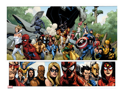 Secret Invasion No.1 Group: Captain America, Spider-Man and Vision Stretched Canvas Print