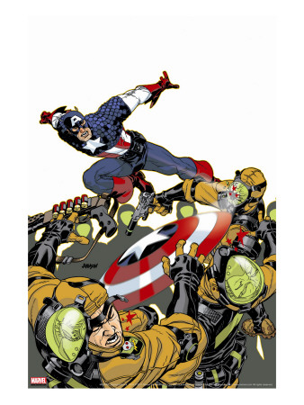 Captain America V4, No.26 Cover: Captain America Stretched Canvas Print