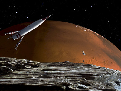 A Spaceship in Orbit over Mars Moon, Phobos, with the Red Planet Mars in the Background Stretched Canvas Print