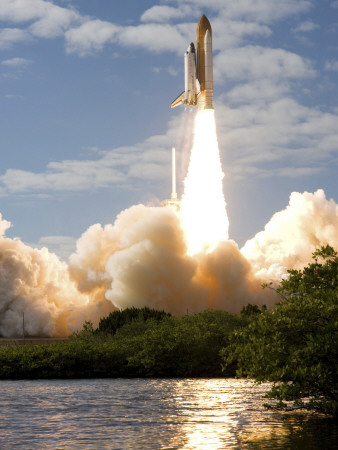 Space Shuttle Atlantis Lifts Off from its Launch Pad at Kennedy Space Center, Florida Stretched Canvas Print