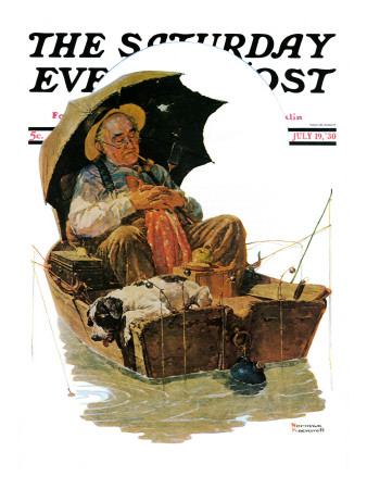 """Gone Fishing"" Saturday Evening Post Cover, July 19,1930 Stretched Canvas Print"