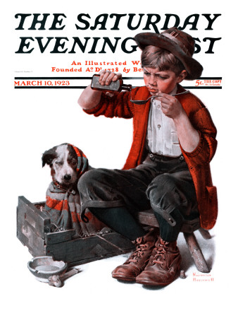 """Sick Puppy"" Saturday Evening Post Cover, March 10,1923 Stretched Canvas Print"