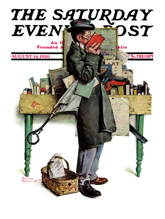 """""""Bookworm"""" Saturday Evening Post Cover, August 14,1926 Stretched Canvas Print"""