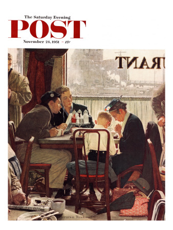 """Saying Grace"" Saturday Evening Post Cover, November 24,1951 Stretched Canvas Print"