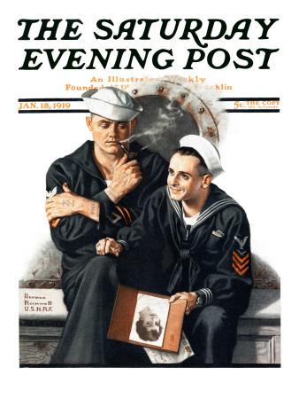 """Thinking of the Girl Back Home"" Saturday Evening Post Cover, January 18,1919 Stretched Canvas Print"