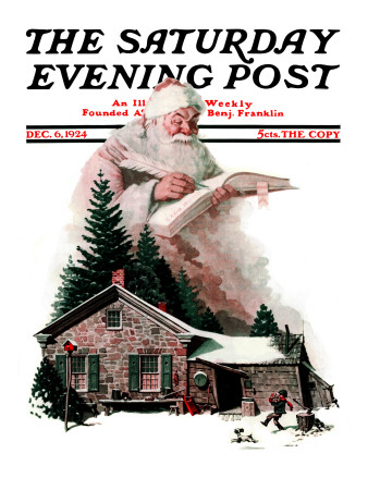 """""""Good Deeds"""" Saturday Evening Post Cover, December 6,1924 Stretched Canvas Print"""