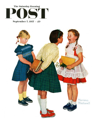 """Missing tooth"" Saturday Evening Post Cover, September 7,1957 Stretched Canvas Print"