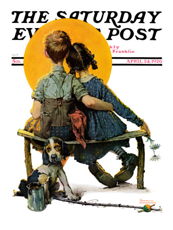 """Little Spooners"" or ""Sunset"" Saturday Evening Post Cover, April 24,1926 Stretched Canvas Print"