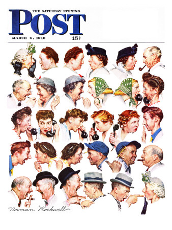 """Chain of Gossip"" Saturday Evening Post Cover, March 6,1948 Stretched Canvas Print"