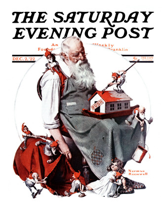 """Santa with Elves"" Saturday Evening Post Cover, December 2,1922 Stretched Canvas Print"