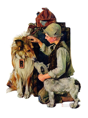"""""""Making Friends"""" or """"Raleigh Rockwell"""", September 28,1929 Stretched Canvas Print"""