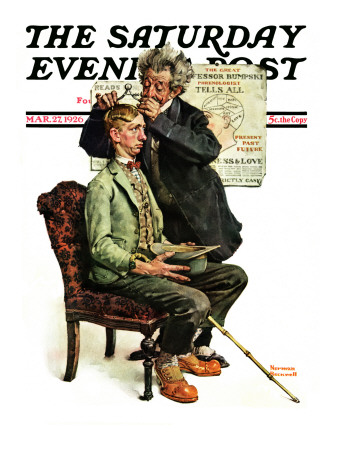 """""""Phrenologist"""" Saturday Evening Post Cover, March 27,1926 Stretched Canvas Print"""