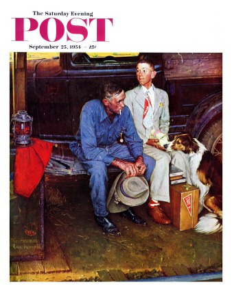"""""""Breaking Home Ties"""" Saturday Evening Post Cover, September 25,1954 Stretched Canvas Print"""