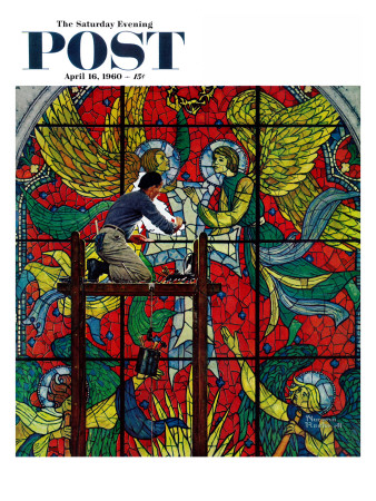 """Repairing Stained Glass"" Saturday Evening Post Cover, April 16,1960 Stretched Canvas Print"