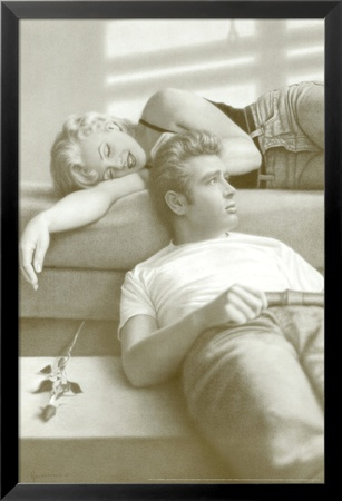 Flutesong, Marilyn Monroe and James Dean Lamina Framed Art Print