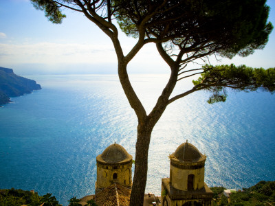 View from the 13th Century Villa Rufolo in Ravello, Amalfi Coast Stretched Canvas Print