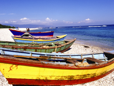 Fishing Boats on Beach Stretched Canvas Print