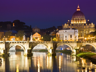 St Peter's Basilica from the Tiber River at Dusk Stretched Canvas Print