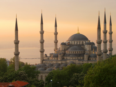 Sultan Ahmet (Blue Mosque) at Dawn, Historic Centre of Istanbul Stretched Canvas Print